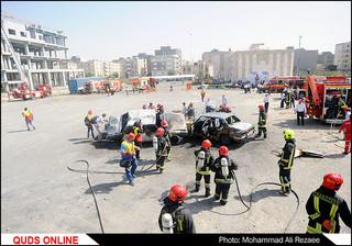 مانور آتشنشانی و ایمنی در مشهد/گزارش تصویری