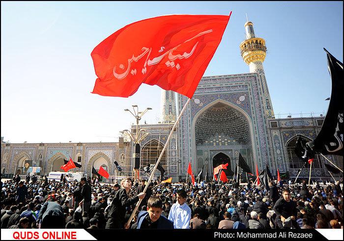 اجتماع عظیم دانش آموزان عزادار حسینی در حرم مطهر رضوی/گزارش تصویری