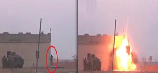 فیلم / لحظه انفجار به خودی یک داعشی انتحاری!