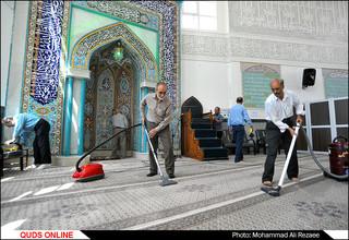 غبارروبی مساجد در آستانه ماه مبارک رمضان