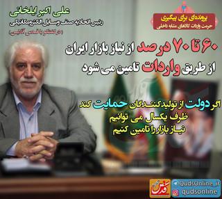 60 تا 70 درصد از نیاز بازار ایران از طریق واردات تامین می شود (3)