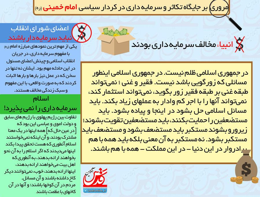 مروری بر جایگاه تکاثر و سرمایه داری در کردار سیاسی امام خمینی (ره) / اینفوگرافیک