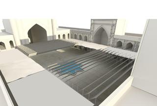 نصب سایبان در مسجد گوهرشاد