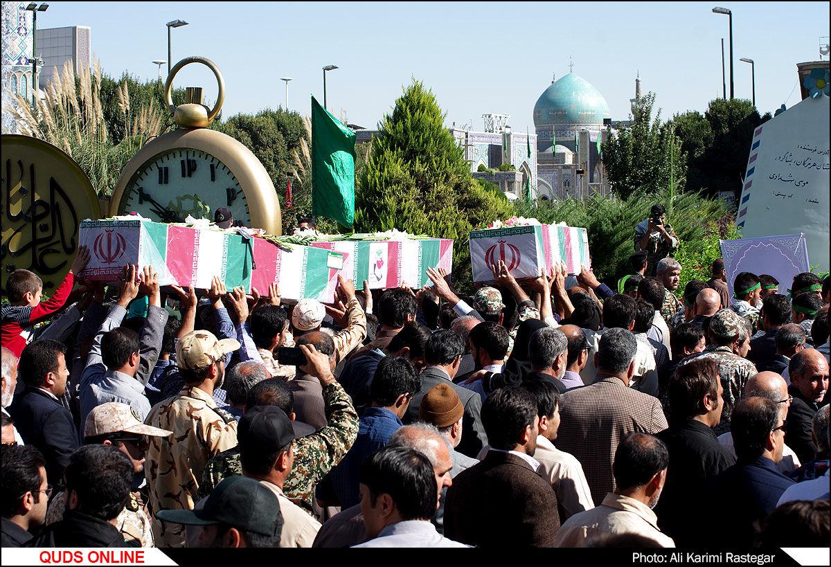 تشییع پیکر مطهر چهار شهید دوران دفاع مقدس و  یک شهید مدافع حرم در مشهد/گزارش تصویری