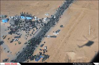 تصاویرهوایی از زائرین پیاده حضرت رضا علیه السلام