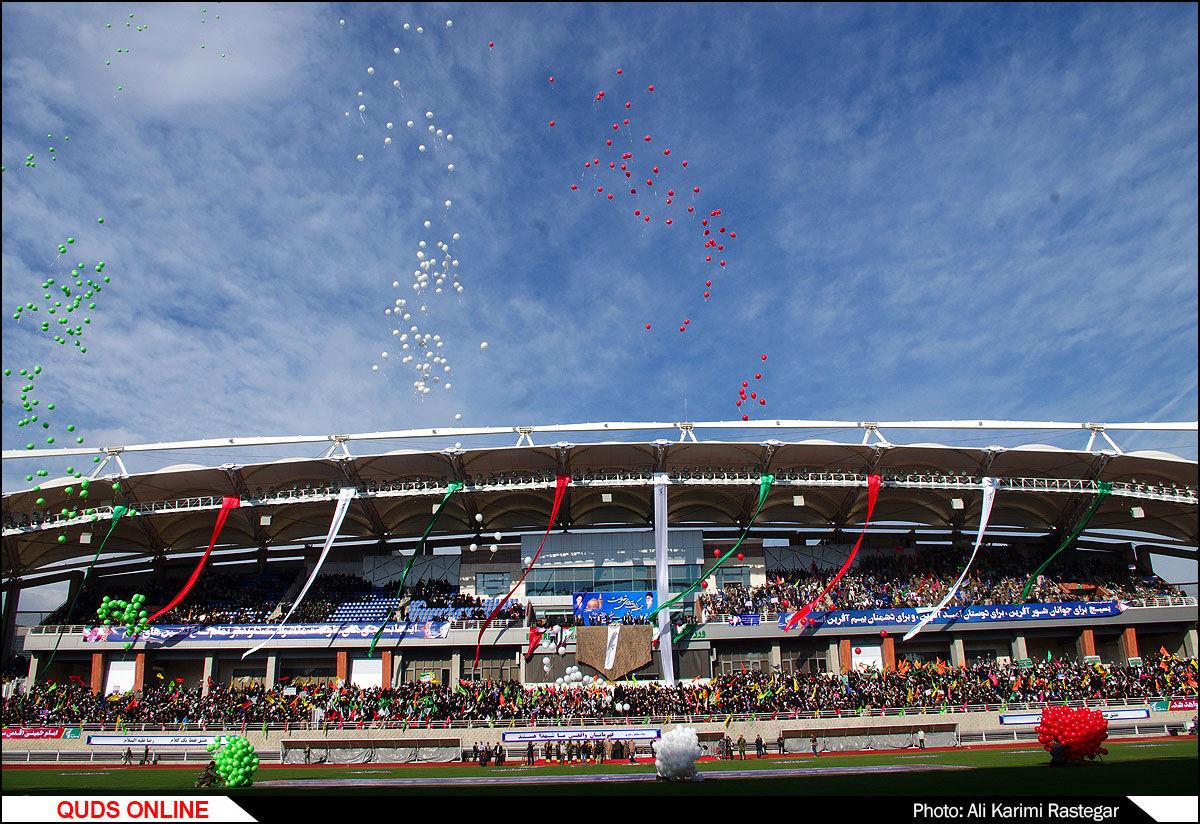 جشن پیروزی مقاومت در ورزشگاه امام رضا(ع)/گزارش تصویری
