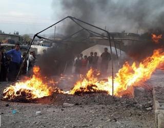 آتش سوزی در چادر اسکان موقت