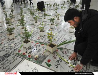 مزار شهدای مدفون در حرم مطهر رضوی غبارروبی شد/گزارش تصویری