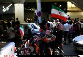 شادی  و حمایت مردم از تیم ملی فوتبال فوتبال در مشهد