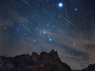 تایم لپسی زیبا و دیدنی کهکشان راه شیری و باران شهاب سنگ