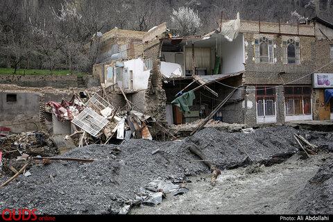 خسارات وارده از طغیان رودخانه در شهرستان شاندیز