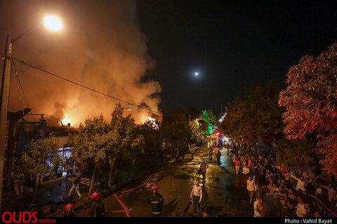 حریق انبار چوب در مشهد