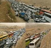 مهران در ترافیک اربعین/ تردد خودروها رکورد زد