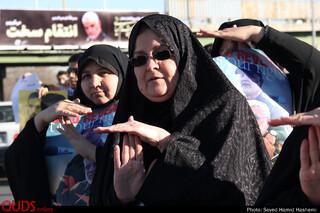 تجمع مردم مشهد در اعلام حمایت از حملات هوایی سپاه به پایگاه نظامی آمریکا در عراق