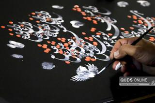 اجرای بداهه نقاشیخط عاشورایی در نگارخانه رضوان